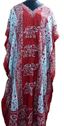 Winmaarc Plus Size Elephant Print Kaftan,Long Length Caftan Dress Boho Gown (Kaftan Elephant)