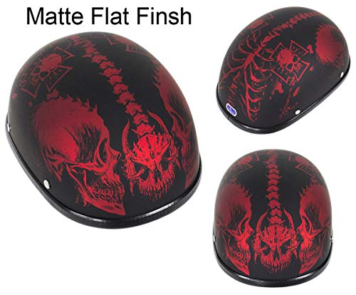 (Dream Apparel Low Profile Motorcycle Novelty Low Profile Matte Burgundy Skull Cap Helmet (M - (21.8