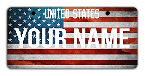 BleuReign(TM) Personalized Custom Name License USA Flag Plate Bicycle Bike Moped Golf Cart 3