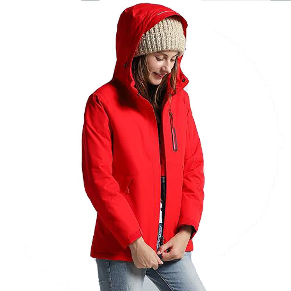 Outdoor-Jacken Für Damen Warme Gefüttert Funktionsjacke wasserdichte Outdoorjacke Winddichte Hardshelljacke Warme Winterjacke Regenjacke USB Beheizte Jacken,Red-L
