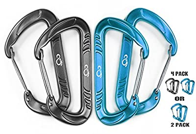 Lightweight 12KN Wiregate Hammock Carabiner Clips Made Of Aircraft Grade 7075 Aluminum Alloy - Heavy Duty 4 Pack Set Great For Camping, Hammocks, Hiking, Backpacking- Rated For 2697 Lbs Each