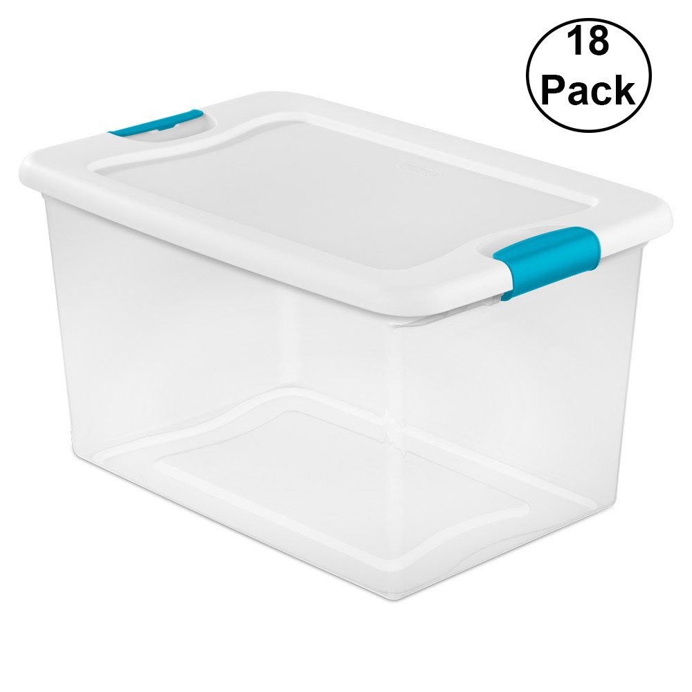 Sterilite 64-Quart Latching Storage Box (18 Pack)