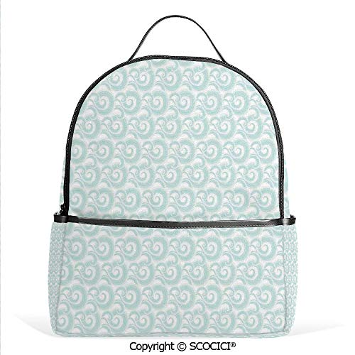 (Lightweight Chic Bookbag Curls and Swirls Waves Illustration of Sky with Abstract Clouds Japanese Style Decorative,Satchel Travel Bag Daypack)