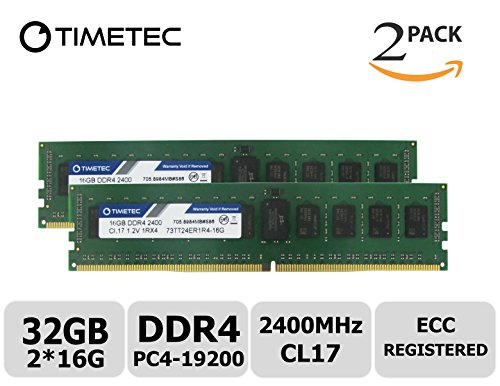 Timetec Samsung IC 32GB Kit (2x16G) DDR4 2400MHz PC4-19200 Registered ECC 1.2V CL17 1Rx4 Single Rank 288 Pin RDIMM Server Memory RAM Module Upgrade (32GB Kit (2x16G))