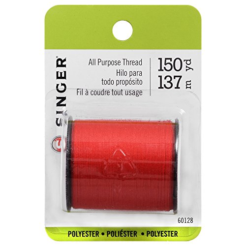 SINGER 60128 All Purpose Polyester Thread, 150 yards, Red ()