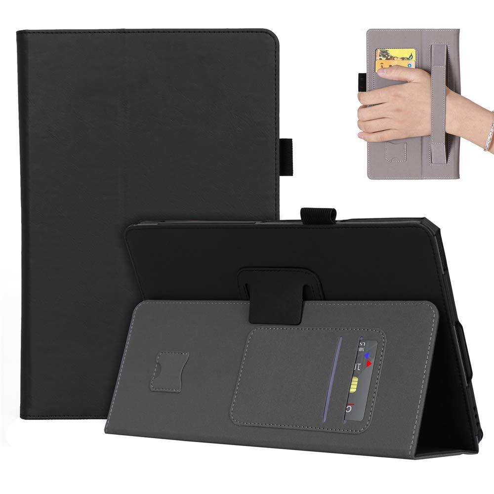 Samsung Galaxy Tab S4 10.5 SM-T830 ケース 高級本革ケース 視聴スタンド付き フリップカバー ハンドメイド Samsung Galaxy Tab S4 10.5 SM-T830 (ブラック)   B07LCGSJVT