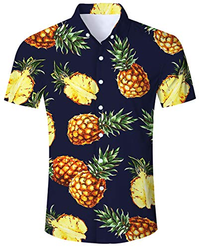 - ALISISTER Tropical Hawaiian Shirt Men Vacation Shirts 3D Pineapple Aloha Blouse Button Down Collar Beachwear Summer Party M
