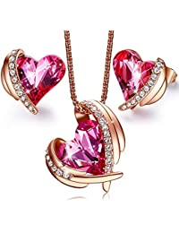 """""""Pink Angel 18K Rose Gold Plated Jewelry Set Women Heart Pendant Necklaces and Stud Earrings Sets Crystals from Swarovski, Gifts for Valentine's Day"""