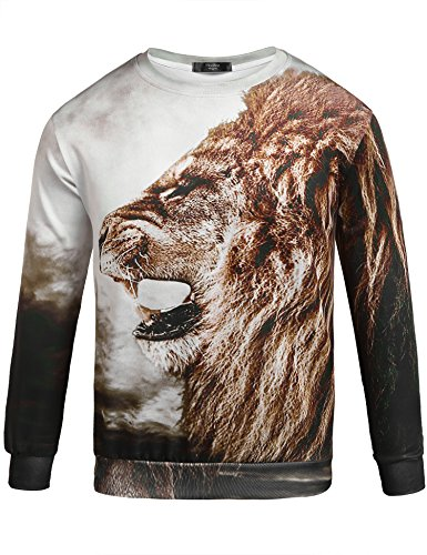 Zuckerfan Men's Unisex Long Sleeve 3D Print Pullover Sweater Hip-Hop Casual T-Shirt Sweatshirts(#10,Large) - Lion O Costume Make