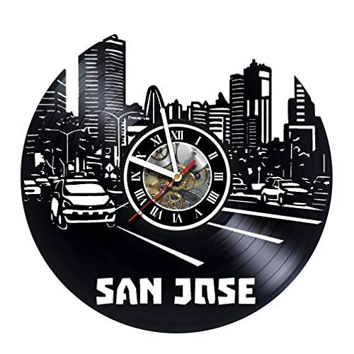 SAN Jose City - Vinyl Record Wall Clock - Unique Home Room Wall Art Decor Ideas for Boys, Girls, Kids, Teens, Men and Women - Original Decor Design -