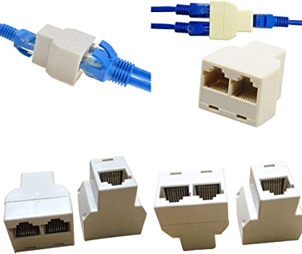 RJ45 CAT5 6 Ethernet cable LAN Port 1 to 2 Socket Splitter Connector Adapter PC/&