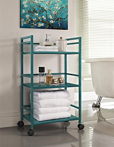 Ameriwood Home 7741396PCOM Marshall 3-Shelf Metal Rolling Utility Cart, Teal