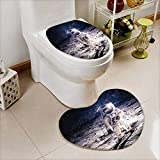 vanfan Non-slip Bath Toilet Mat Spaceman Surface of Orbit Background Cosmos Galaxy Solar Soft Non-Slip Water