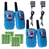 Swiftion Rechargeable Kids Walkie Talkies 22 Channel 0.5W FRS/GMRS 2 Way Radios with Charger and Rechargeable Batteries (Blue, Pack of 4)