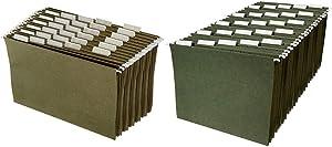 AmazonBasics Hanging File Folders - Legal Size, Green - Pack of 25 &Hanging File Folders - Letter Size, Green - Pack of 25