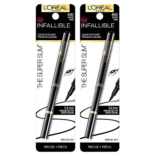 L'Oréal Paris Makeup Infallible Super Slim Long-Lasting Liquid Eyeliner, Ultra-Fine Felt Tip, Quick Drying Formula, Glides on Smoothly, Black, 2 Count