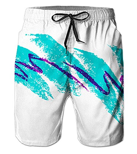 (Belovecol Men's Beach Shorts 90s Bathing Suit Shorts Jazz Solo Paper Cup Casual Swim Trunks M)