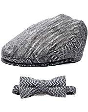 Born to Love Flat Scally Cap Boy's Tweed Page Boy Newsboy Baby Kids Driver Cap Hat XL, Grey and Black Set