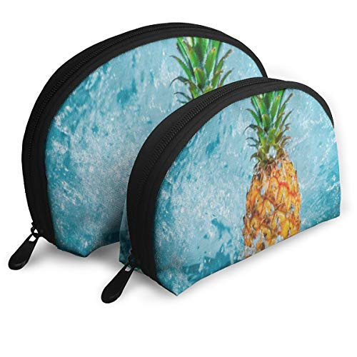 Fruit Blue Water Splashes Portable Shell Beauty Bags Case For Women ()