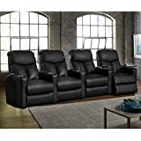Octane Seating BOLT-R4SP-BND-BL Octane Bolt XS400 Motorized Leather Home Theater Recliner Set (Row of 4)