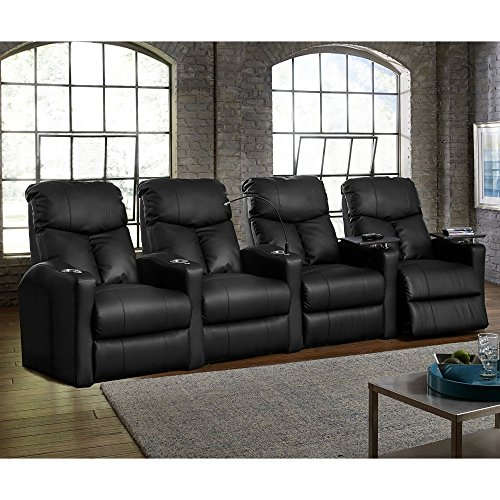 Octane Seating BOLT-R4SM-BND-BL Octane Bolt XS400 Leather Home Theater Recliner Set Row of 4