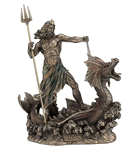 Veronese (ヴェロネーゼ) 鉾を持つポセイドン 海の神 ヒッポカムポス ギリシャ神話 ブロンズ風 フィギュア B0769F66YV