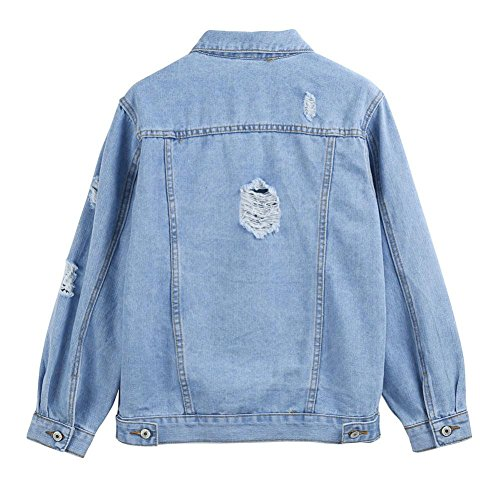 Pervobs Blouses, Big Promotion! Women Autumn Winter Denim Jacket Vintage Long Sleeve Loose Jeans Coat Outwear (L, Blue) by Pervobs Women Long-Sleeve Shirts (Image #3)
