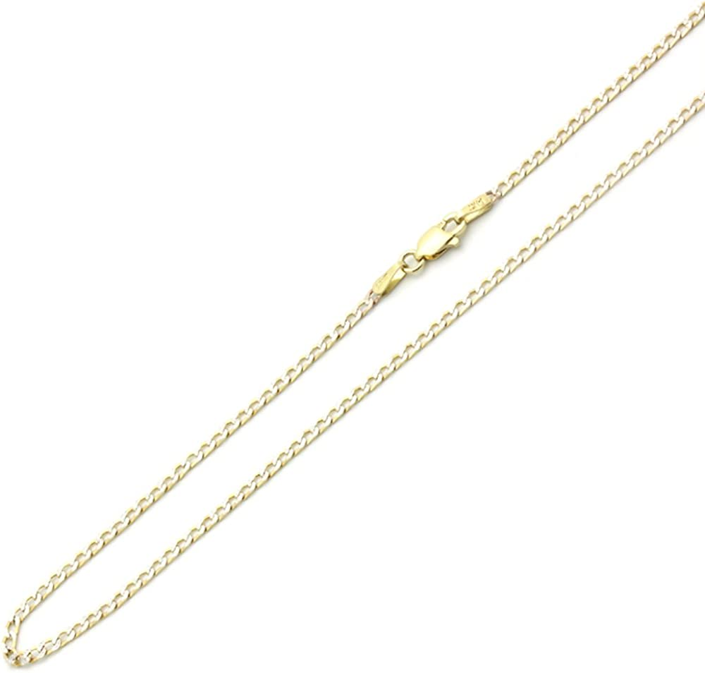 14K Yellow Gold Chain 2mm Light curb Chain Necklace 16, 18, 20, 22, 24 Inches