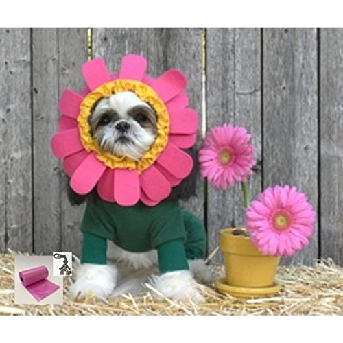 """DOGGIE DESIGN Adorable Blooming Flower Petals 2 pc Costume Suit and Themed Charm Travel Set – for Dogs – Sizes XS thru XL (Large Chest 19""""-21"""", Neck 16""""-18"""", Dark Green)"""