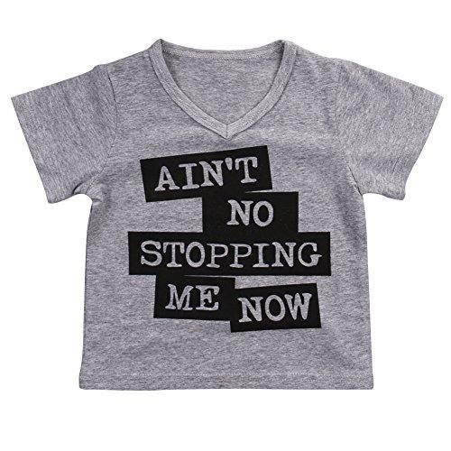 Unisex Baby Kids Summer Short Sleeve Letters Print V-neck T-shirt Tops (4-5 Years)
