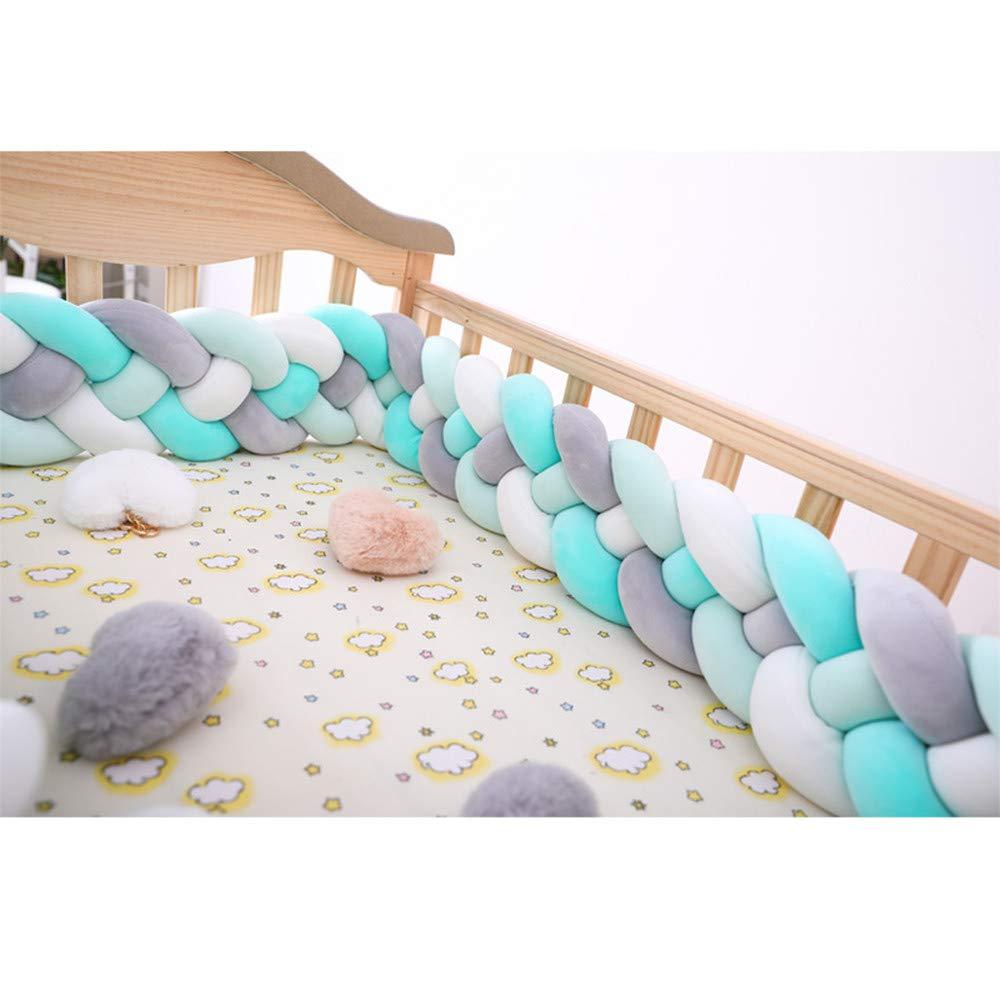 RAILONCH Baby Cot Bed Bumper Braid Pillow Cotton Nursery Decorations Braided Bumper Childrens Room Decoration Pillow Skin Soft for Baby Nursery Crib Bedding 2M//3M