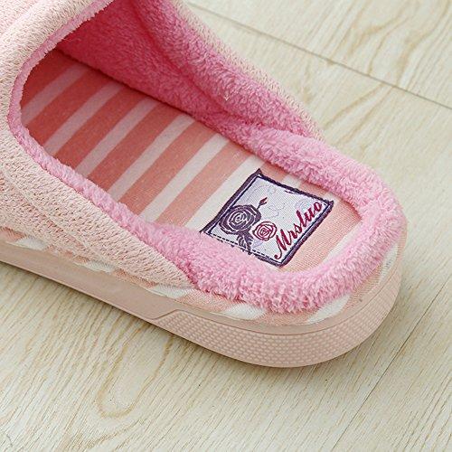Pantoufles De Coton Rayé Btrada Cosy Bowknot - Chaud Couple Pantoufles Dhiver Pour La Maison / Chambre Rose