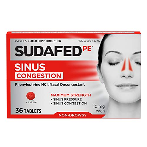 Sudafed PE Sinus Congestion Maximum Strength Non-Drowsy Decongestant Tablets, 36 ct (Tylenol Sinus Daytime)