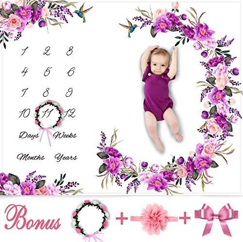 Baby Monthly Milestone Blanket Girl - Floral Plush Fleece Baby Photography Backdrop Memory Blanket for Newborns Large - New Moms Baby Shower Gift Set - 100% Wrinkle-Free - Bonus Wreath + Headband]()