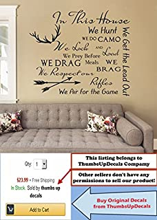 QUOTE Wall Decal Family Vinyl Sticker Quote In This HouseSticker Deer Antler
