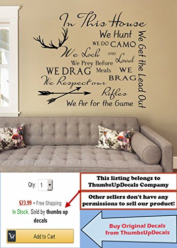 QUOTE Wall Decal Family Vinyl Sticker Quote In This House...Sticker Deer Antler Stickers House Rules Vinyl Quote Decor Home Bedroom FD196