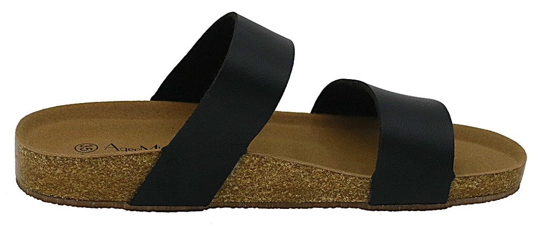 AgeeMi Shoes Unisex Slip On Offener Zeh Doppel Riemen Gummi Flats Sandalen:  Amazon.de: Schuhe & Handtaschen