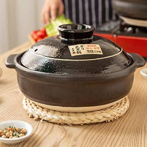 xcxc Pot de Riz en Pierre Japonais Donabe Dolsot, Casserole en céramique Traditionnelle Fait Main avec Couvercle ustensiles de Cuisine sains antiadhésifs Noir 3.59Quart