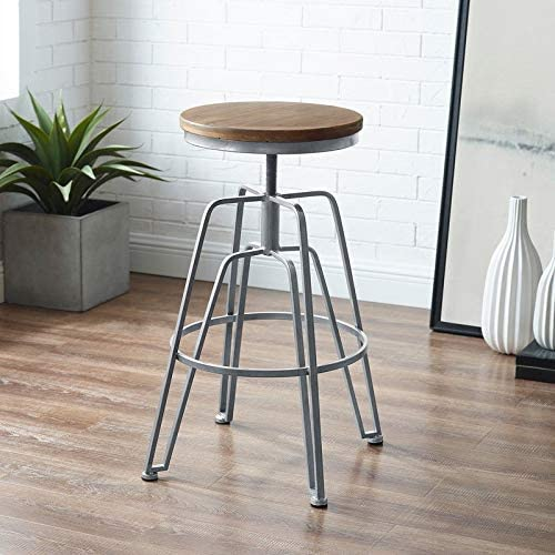 Linon Aimes Wood and Metal Adjustable Stool Matte Gold Gold Finish