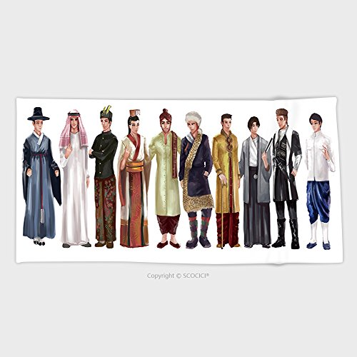 European National Dress Costumes (27.5W x 11.8L Inches Custom Cotton Microfiber Ultra Soft Hand Towel Cartoon Illustration Of Asian Male Man Traditional Religion And National Costume Dress Clothing 357508)