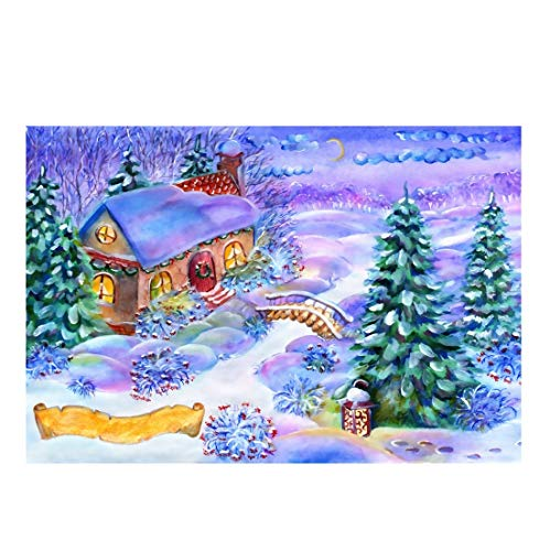 Yeele Christmas Photography Background 9x6ft Wooden Bridge Fairytale House Chimney Lantern Forest Merry Christmas Purple Mist Xmas Decoration Photo Backdrops Pictures Photoshoot
