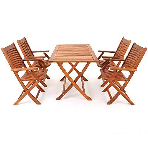 Salon de jardin en bois d\'acacia - Ensemble table et chaise ...
