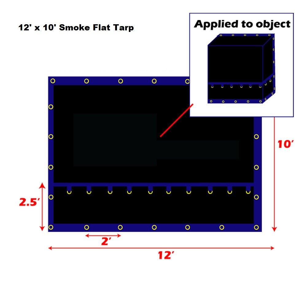 Xtarps-12' x 10' Flatbed Truck Tarp - Light Weight Flat Smoke Tarp