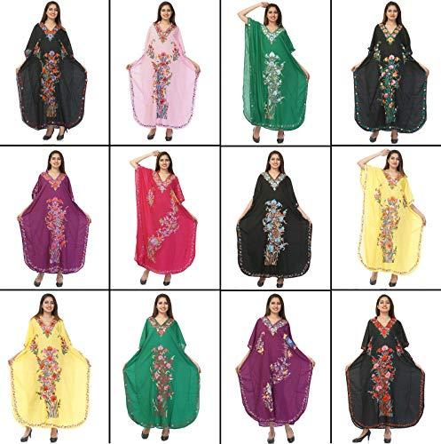 (Odishabazaar Womens Plus Size Boho Hippie Floral Print Kaftan Dress Dori On Waist)