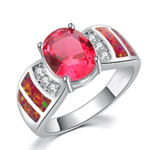 CiNily 18K White Gold Plated Red/Blue Fire Opal & Kunzite & Cubic Zirconia Women's Gemstone Ring Size 6-11