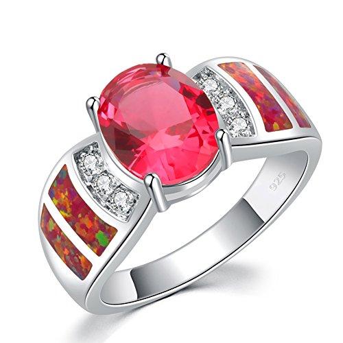 CiNily Rhodium Plated Red Fire Opal Kunzite Zircon Women Jewelry Gems Ring Size 10 ()