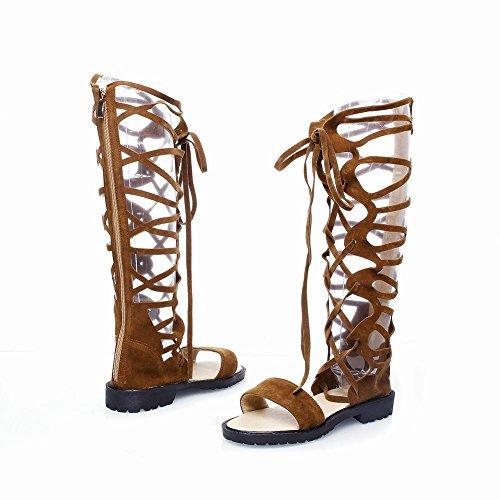 Mee Shoes Damen Niedrig Reißverschluss langschaft Sommerstiefel Braun