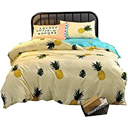 Hxiang 3 Piece Duvet Cover Set with 2 Pillow Shams - 800 Thread Count Luxurious&Extremely Durable Premium Bedding pineapple bedding Collection - -1 Duvet Cover+2 Pillowcases (Twin, Yellow)
