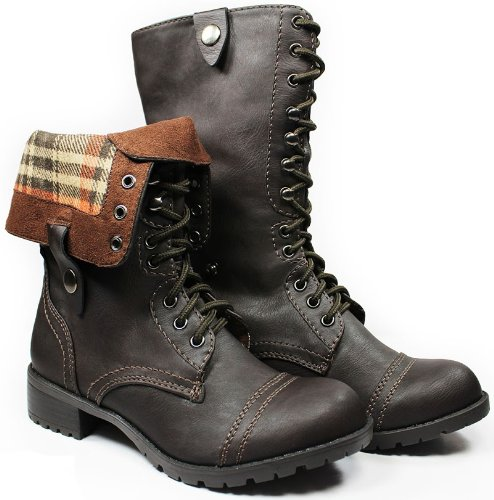 JJF Shoes OS Brown Military Combat Fold-able Cuff Plaid Mid-Calf Lace-up Motorcycle Boots-6.5 bctaRILY