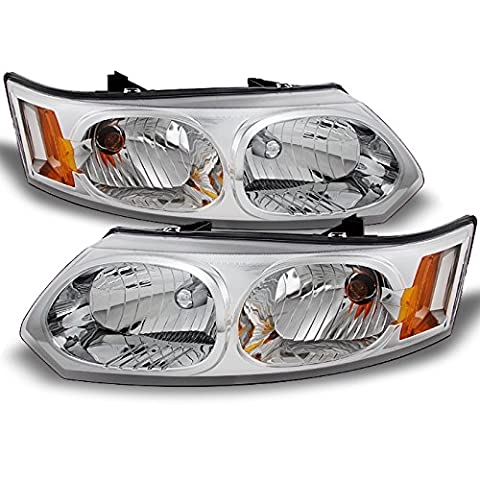 Saturn Ion 4 Door Sedan Clear Headlights Head Lamps Driver Left + Passenger Right Side Replacement (Hid Saturn Ion)